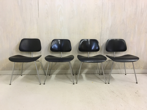 Set of Four Eames DCM Bent Plywood Chairs for Herman Miller