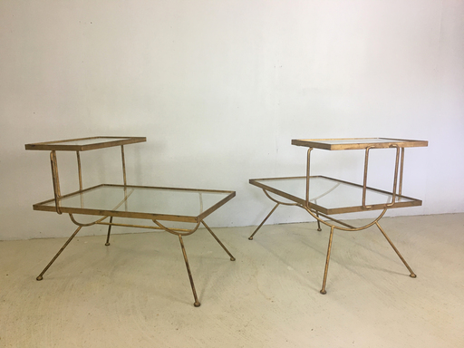 Glass and Metal Step Tables in Style of George Nelson Boston