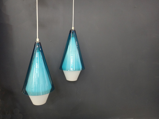 Mid Century Handblown Glass Pendant Lamps