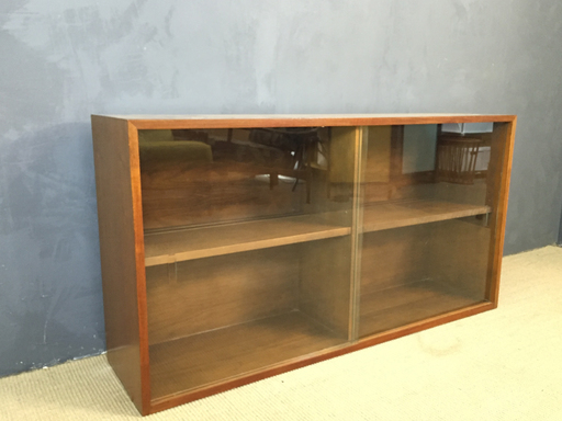 Milo Baughman Glass Sliding Door Hutch