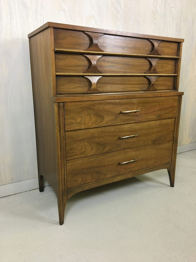 Mid Century Kent Coffey Perspecta Upright Bureau Dresser Highboy