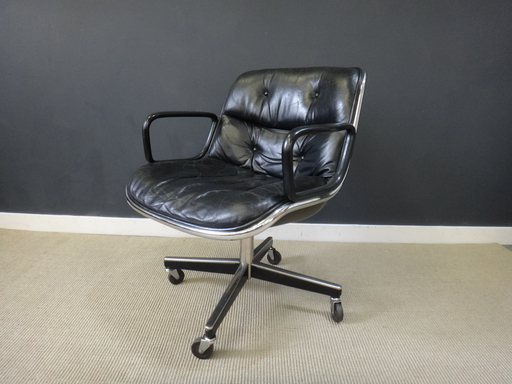 Vintage Knoll Black Leather Office Chair