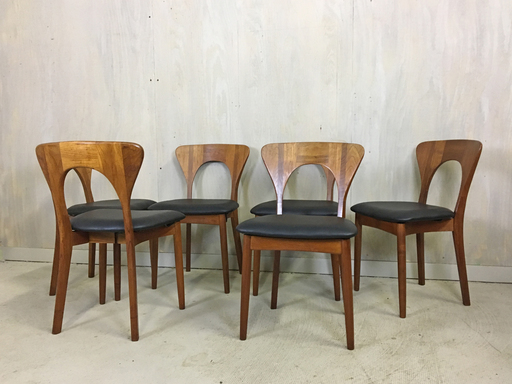Danish Modern Teak Peter Chairs Designed by Niels Koefoed Dining Chairs