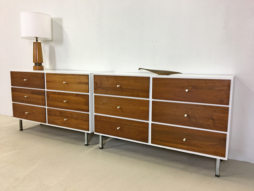 Pair of Walnut and Laminate-Top Bureaus