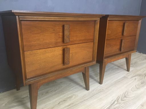 Mid Centuury Bassett Mayan Nightstands Boston