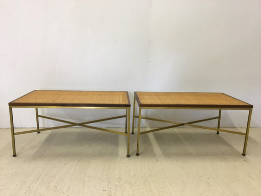 Pair of Paul McCobb Cane and Metal Benches