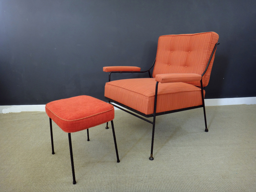 mid century upholstered chair and ottoman