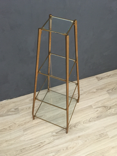 Mid Century Metal and Glass Etagere