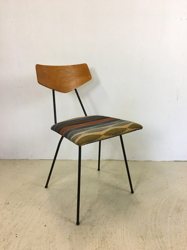 Mid Mod Accent Chair with Upholstered Seat and Metal Legs