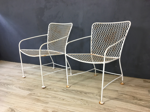 Mid Century Iron Modernist Armchairs in Style of Van Keppel Green Green Boston