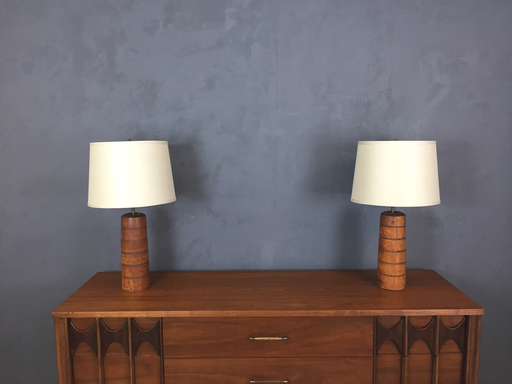 Pair of Mid Century Turned Wood Table Lamps