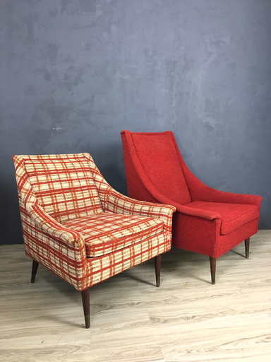 Pair of Mid Century Mr and Mrs Upholstered Chairs