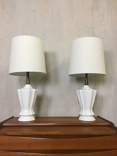 Pair of Mid Century White Ceramic Table Lamps