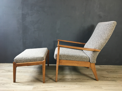 Parker Knoll British Upholstered Lounge Chair with Ottoman