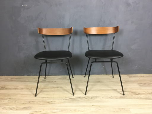 Mid Century Iron and Wood Chairs by Clifford Pascoe