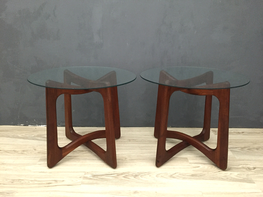 Adrian Pearsall Walnut and Glass End Tables