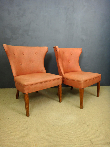 Pair of Mid Century Upholstered Accent Chairs