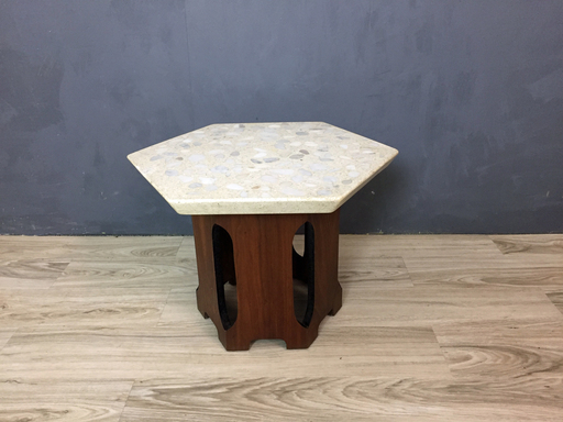 Harvey Probber Terrazzo and Walnut Side Table Boston