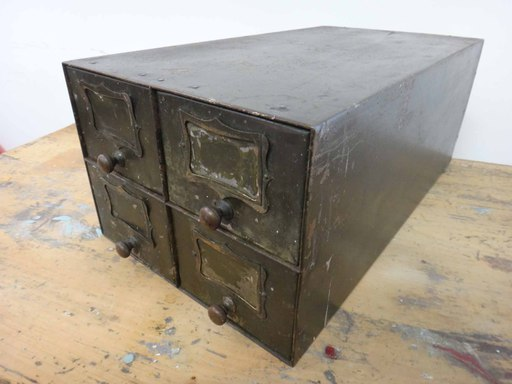 Vintage metal fourdrawer file box