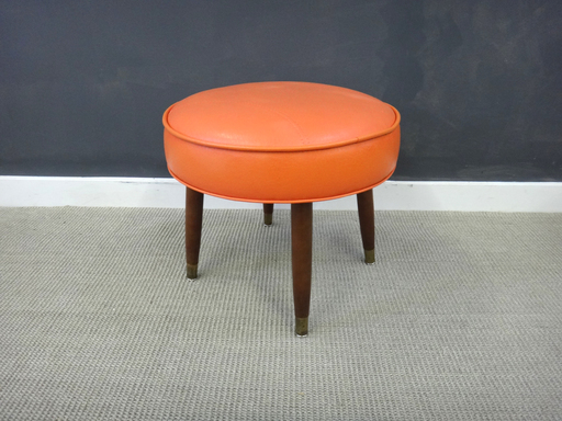Mid Century Orange Vinyl Ottoman