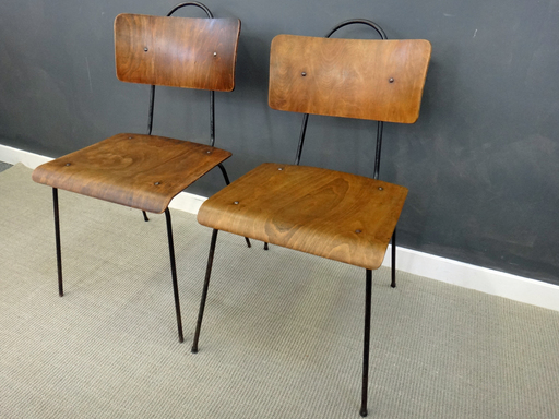 Pair Vintage Metal amp Wood Chairs