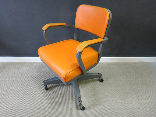 Vintage Orange Vinyl Office Chair