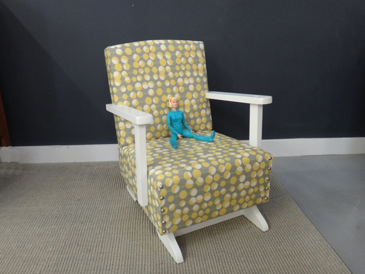 Reupholstered mid century child039s rocking chair