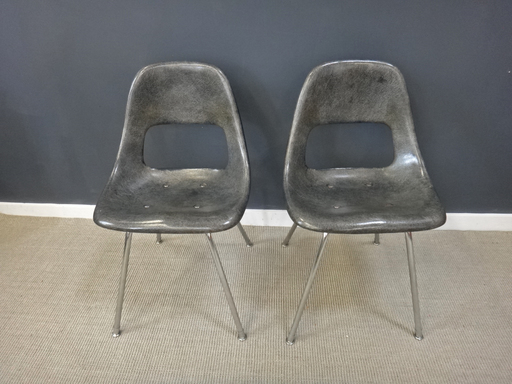 Pair of Sturgis grey fiberglass chairs