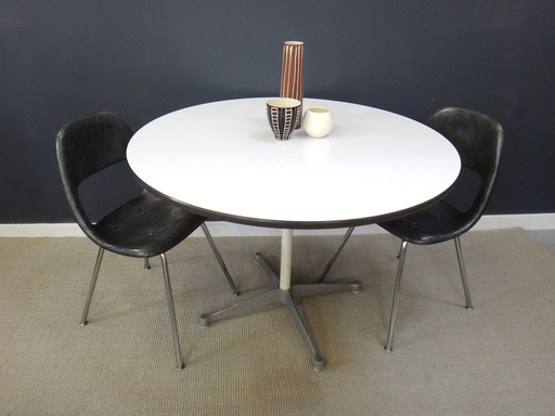 Eames round white laminate table