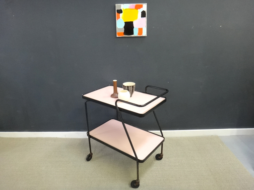 Vintage black and pink bar cart