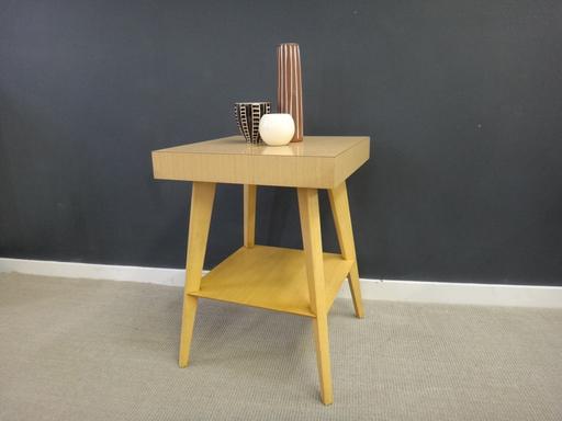 Mid Century Blond Laminate-Top Side Table