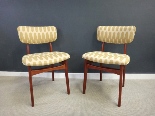 Pair of reupholstered teak accent chairs