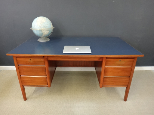 Mid Century Teak Desk with Blue Laminate Top
