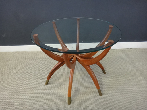 Unique Mid Century Glass-Topped Side Table