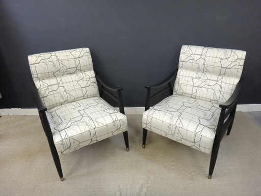 Pair of Reupholstered Retro Lounge Chairs