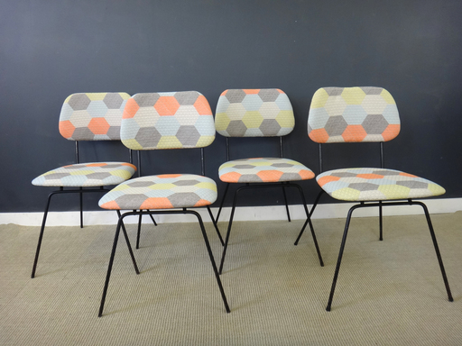Newly UPholstered Mid Century Black Metal Dining Chairs