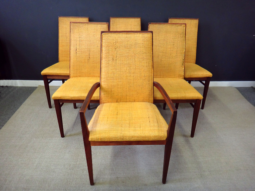 Set of Mid Century Milo Baughman Upholstered Dining Chairs
