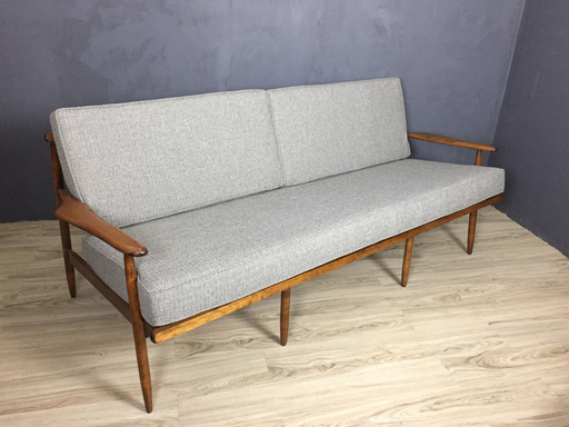 SALE  Mid Century Wood Frame Couch in Grey Upholstery