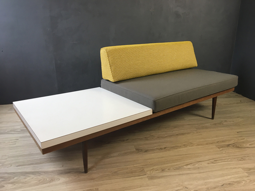 Upholstered Loveseat with Laminate Side Table
