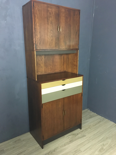 Custon Walnut Wall Unit with Painted Drawers