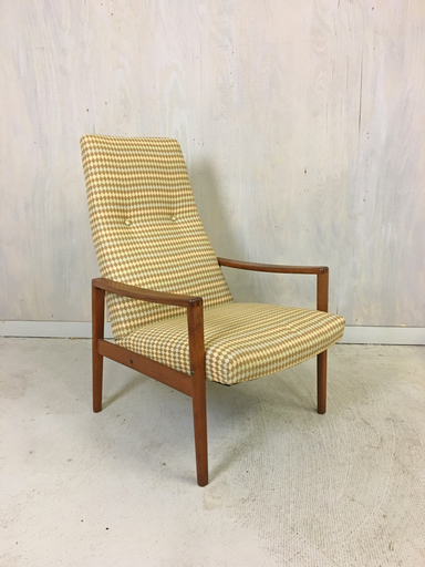 Upholstered Mid Century Lounge Chair with Teak Frame
