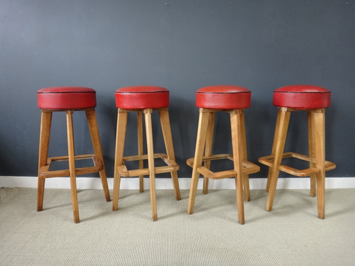 Vintage Maple and Red Vinyl Restaurant Stools