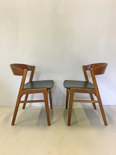 Pair of Danish Modern Teak Ribbon Back Chairs for Dux