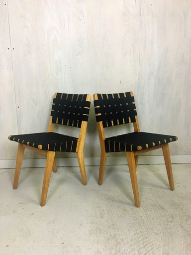 Pair of Jens Risom Webbed Maple Side Chairs