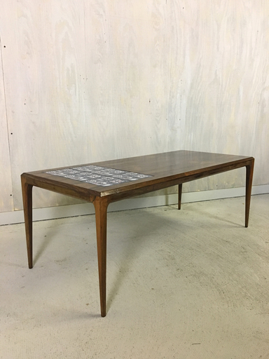 Johannes Andersen Rosewood Coffee Table with Tile Inset
