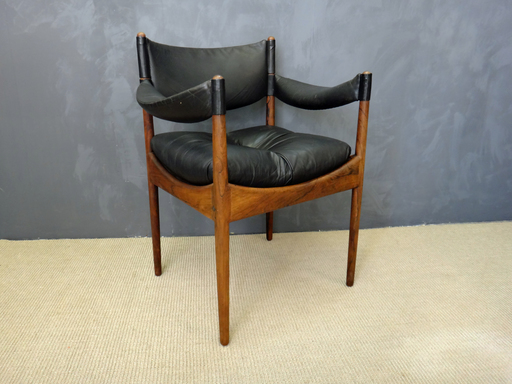 Kristian Vedel Rosewood and Leather Chair for Sorren Willadsen
