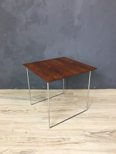 Mid Century Rosewood and Chrome Side Table
