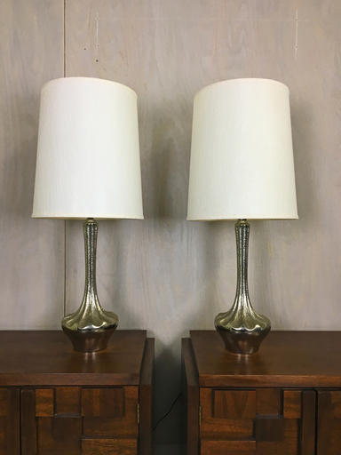 Pair of Mid Century Large Silver Metal Table Lamps Boston