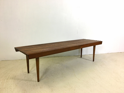 Mid Century Modern Walnut Slatted Wood Top Bench or Coffee Table