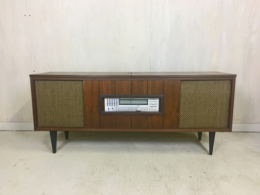 Mid Century Refurbished Stereo Cabinet with Turntable